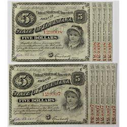 """TWO 1879 LOUISIANA """"BABY BONDS"""" $5.00"""