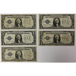 "FIVE 1928 $1.00 SILVER CERTIFICATES ""FUNNYBACKS"""