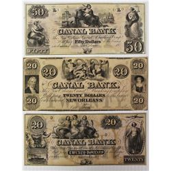 THREE CANAL BANK NOTES: