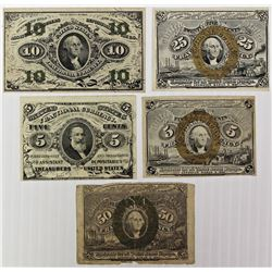 FIVE PCS. FRACTIONAL CURRENCY: