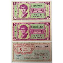 (3) FIVE CENT MILITARY PAYMENT CERTIFICATES