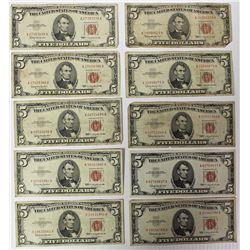 (10) $5.00 U.S. NOTE RED SEALS
