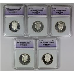 SIX SILVER KENNEDY HALF DOLLARS: