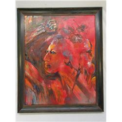 """Signed Indian Oil Painting- J Hilton- Frame 34"""" X 28"""""""