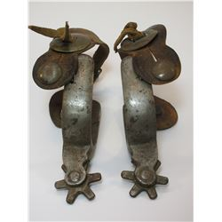 """Marked Kelly Bros Heavy Beaded Spurs- 1.2"""" Bands- 1.5"""" Shanks- 6 Point Rowels- Original Stamped Stra"""