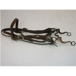 Old Headstall With Nickel Conchos- Buckle Anchor Marked- Unmarked Silver and Copper Bit
