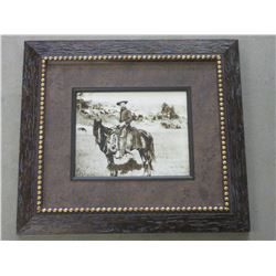 """Unsigned Photo- """"The Cowboy""""- Dotted Frame- 18.5"""" X 16.5"""""""