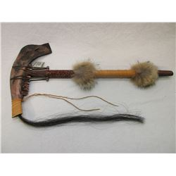 """Buffalo Tomahawk- Contemporary Creek Tribe- Certificate of Authenticity- 26.5"""" X 13""""- Beaded- Fur"""