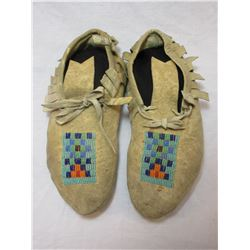 """Beaded NW Moccasins- C 1930- 9.5""""L"""