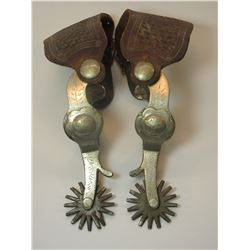 """Marked Crockett Silver Overlaid Spurs- Frontier Pattern- 1.5"""" Bands- 2.25"""" Shanks- 16 Point Rowels"""