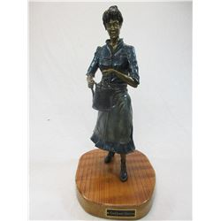 """Signed John W Gilliam Bronze- """"Cookhouse Queen"""", 5/20- 1999- 20"""" H X 11""""W X 9""""D- Certificate of Auth"""