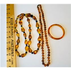 GR OF 3, AMBER LOOK NECKLACES & BANGLE