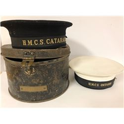 GR OF 3, HMCS NAVAL CAPS WITH ORIGINAL TIN CASE