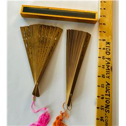 GR OF 2, DELICATE WOODEN FANS WITH ORIG BOX