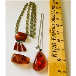 GR OF 3, AMBER & GOLD NECKLACES & BROACH