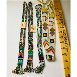 GR OF 4, AMERICAN INDIAN HAND CRAFTED BEADED JEWELRY