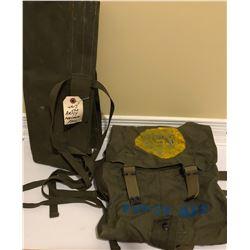 GR OF 2, WW II CANVAS DUFFEL BAG & FIRST AID SACK.