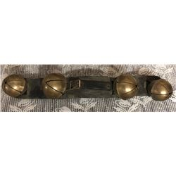 BRASS SLEIGH BELLS ON LEATHER STRAP