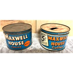 GR OF 2, VINTAGE MAXWELL HOUSE COFFEE TINS