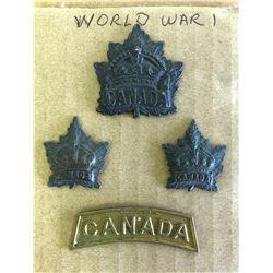 GR OF 4, CANADIAN WW I BADGES