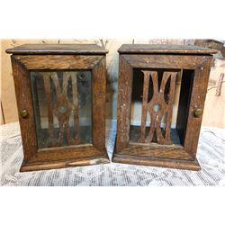 GR OF 2 ANTIQUE WOOD URN DISPLAY BOXES