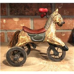 ANTIQUE SMALL WOOD TOY RIDING HORSE