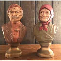 PAIR OF BUSTS - THE OLD COUNTRY COUPLE
