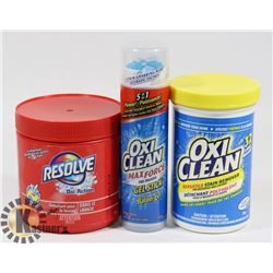 LOT OF 2 NEW OXYCLEAN AND 1 RESOLVE CLEANERS