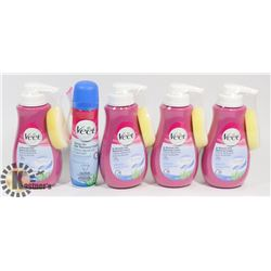LOT OF 5 NEW ASSORTED VEET HAIR REMOVAL PRODUCTS.