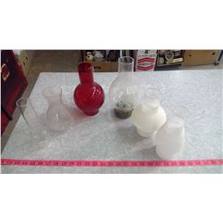 LOT OF ASSORTED #1 & #2 LAMP CHIMNEYS