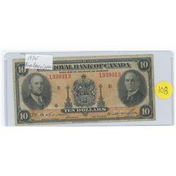 1935 Royal Bank of Canada 10 dollars