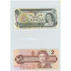 ONE 1973 $1.00 & ONE 1986 $2.00 Radar