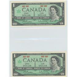 Four 1967 $1.00 centennial bills