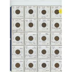 20 assorted USA pennies