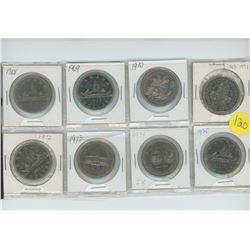 page of 8 $1.00 coins