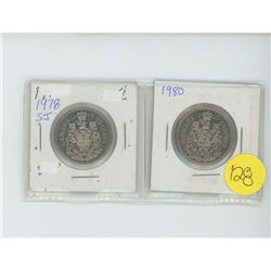 2 50 cent coins, 1978, 1980