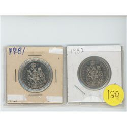 2 50 cent coins, 1981, 1982