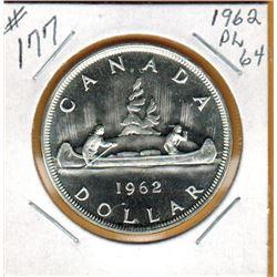 1962 CANADIAN SILVER DOLLAR - PL64