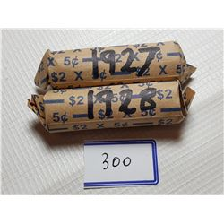 1927 AND 1928 FULL ROLLS OF 5 CENT CANADA COINS