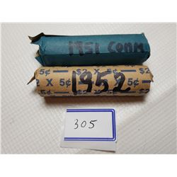 1951 COMM AND 1952 FULL ROLLS OF 5 CENT CANADA COINS