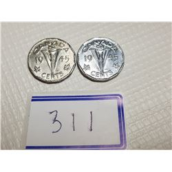 TWO 1945 MISSING CHROME 5 CENT COINS