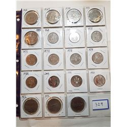 19 DIFFERENT 50 CENT AND $1 CANADA COINS