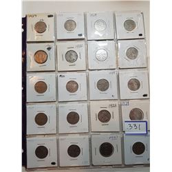 20 KING GEORGE 5 CENT COINS (MIX OF YEARS BETWEEN 1922-1936)