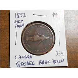 1852 QUEBEC BANK HALF PENNY TOKEN