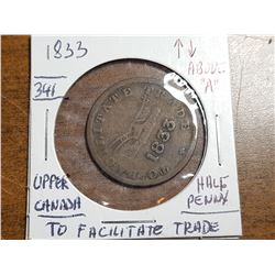 1833 HALF PENNY, TO FACILITATE TRADE, UPPER CANADA