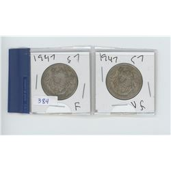 TWO 1947 50 CENT PIECES