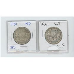 TWO 1951 50 CENT PIECES