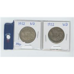 TWO 1952 50 CENT PIECES