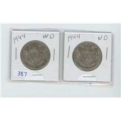 TWO 1944 50 CENT PIECES