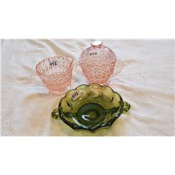 DEPRESSION GLASS CREAM & SUGAR, GREEN DISH